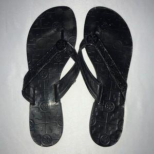 Tory Burch Black Flip Flips Limited Edition Sandal
